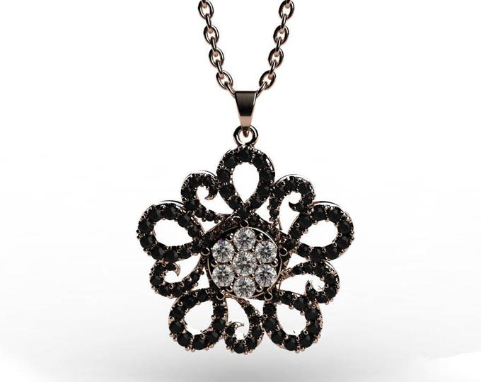 14k Rose Gold Pendants with 18 Inch Chain, Diamond, and Black Diamond Item # PFW-000-X-51