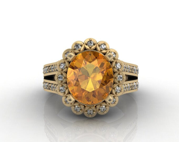 London 18k Gold Engagement or Wedding Ring with Diamond and Yellow Citrine Item # LARFW -00631