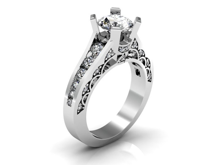 14k White Gold Classic Engagement or Wedding Ring with Diamond and Moissanite Item # RFW000-X-302