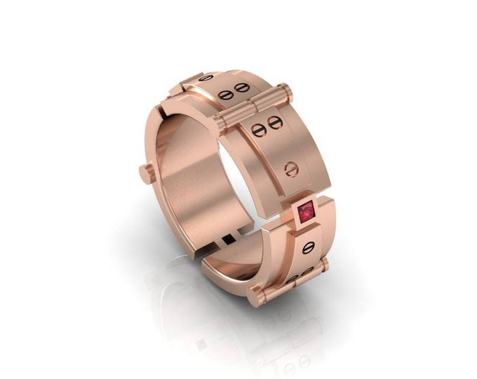 Bolted Gold - 14k Rose Gold Engagement or Wedding Band For Men with Ruby Item#: LAFM000-X-253