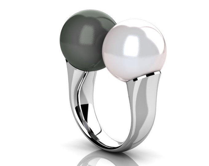 14k White Gold Classic Engagement or Wedding Ring with Cultured White  and  Black Pearl Item # RFW-000-X-354