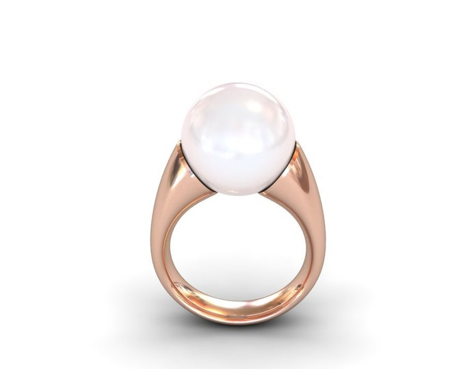 14k Rose Gold Classic Engagement or Wedding Ring with Cultured White Pearl Item # RFW-000-X-210