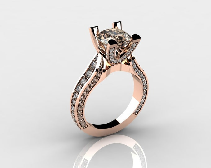 Sunshine-14k Rose Gold Classic Wedding and Engagement Ring with Diamond and Morganite Item # LAFW-000-X-182