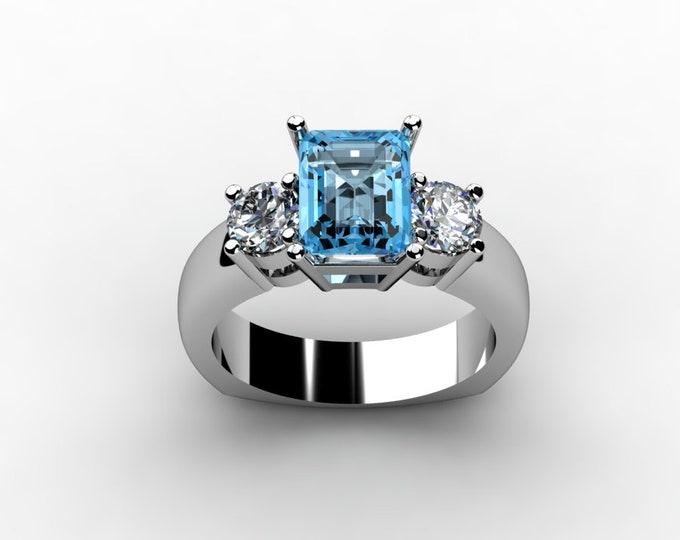 14k White Gold Wedding or Engagemnt Ring with Moissanite and Aquamarine Item # LAFW-000-X-212