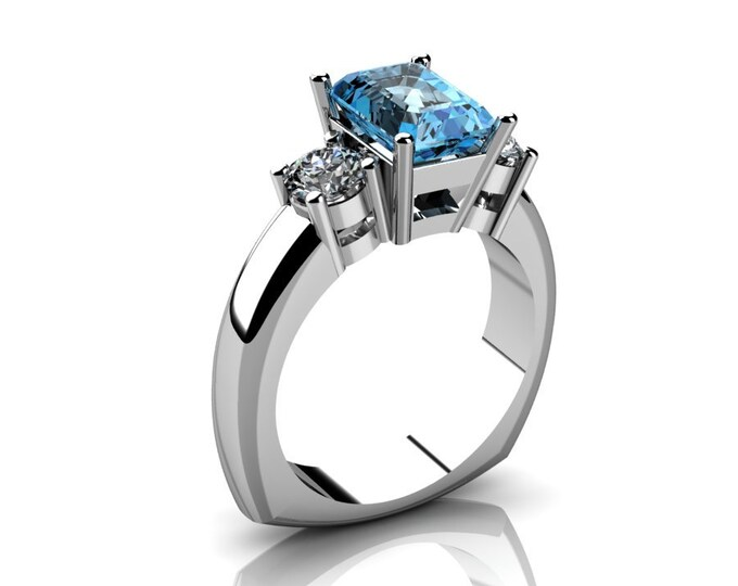 14k White Gold Wedding or Engagemnt Ring with Moissanite and Aquamarine Item # LAFW-000-X-212