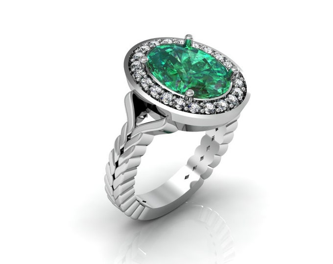 14k White Gold Anniversary Ring withDiamond and Emerald Item # LAFW-000-X-187