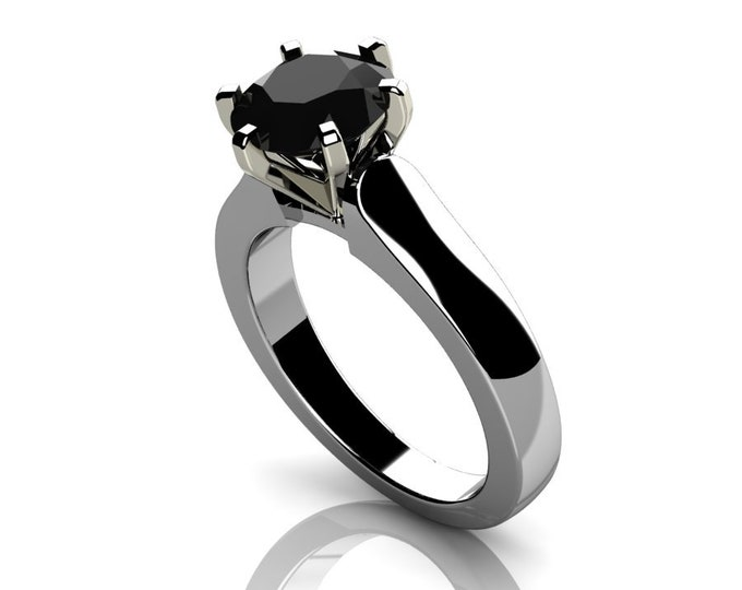14k White Gold Classic Engagement or Wedding Ring with Black Diamond Item # RFW000-X-274