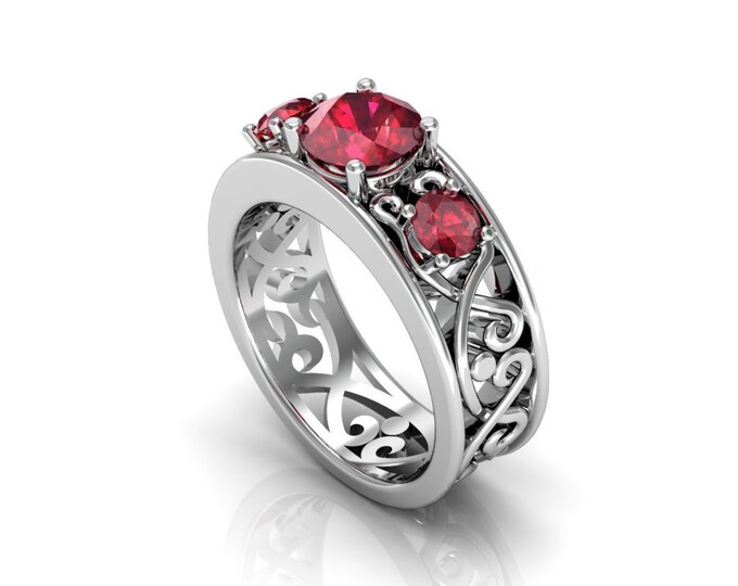 14k White Gold Wedding or Engagement Ring with lab created Ruby Item # LAFW-000-X-358
