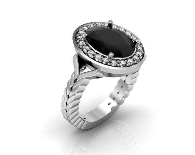 14k White Gold Anniversary Ring with Diamond and Black Diamond Item # LAFW-000-X-189