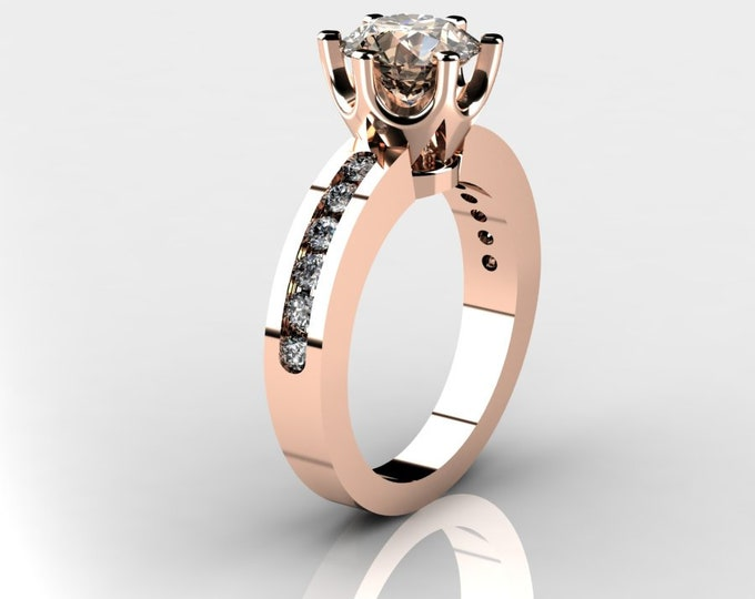 14k Rose Gold Wedding or Engagement Ring with Diamond and Morganite Item # LAFW-000-X-345