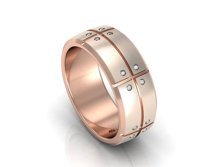 14k Rose Gold Classic Engagement or Wedding Band with Diamond Item # RFM-000-X-92