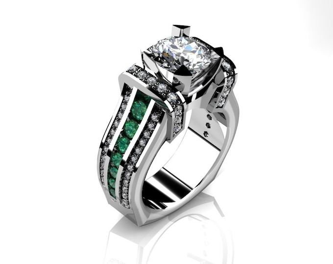 KING-14k White Gold Classic Wedding or Engagement Ring with Diamond,Emerald and Moissanite Item # LAFW-000-X-361