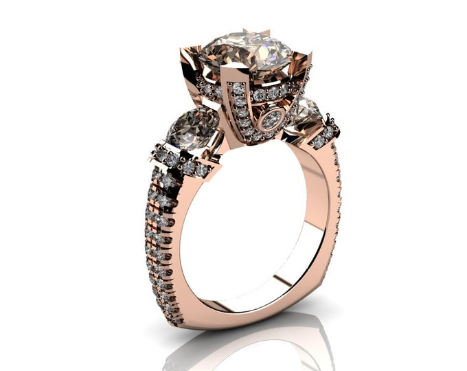 14k Rose Gold Wedding or Engagement Ring with Diamond and Morganite Item # LAFW-000-X-203
