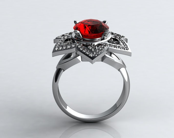 Dream 14k White Gold  Classic Engagement or Wedding Ring with Diamond and Ruby Item # LARFW -00600