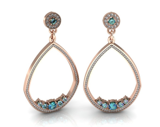 Shandelier-14k Rose Gold Classic Shandelier Earrings with Diamond and Alexsandrite Item # LAEFW-00827