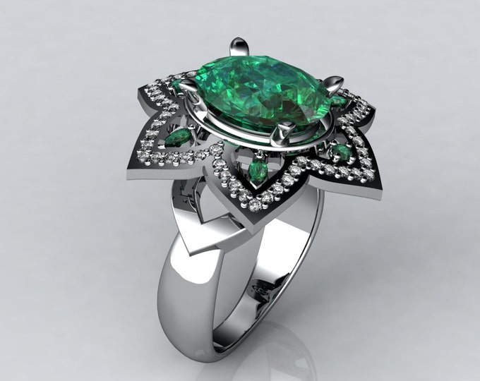 Dream -18k White Gold Classic Engagement or Wedding Ring wit Diamond and Emerald Item # LARFW -00601