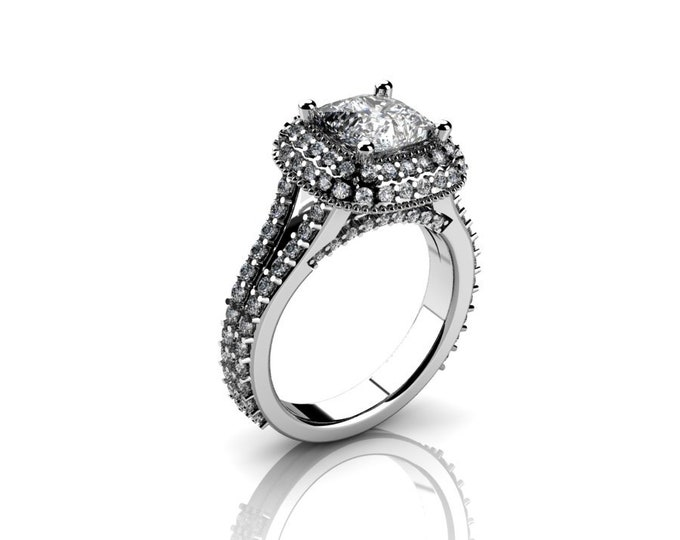 14k White Gold Wedding or Engagement Rind with Diamond and Moissanite Item # LAFW-000-X-168