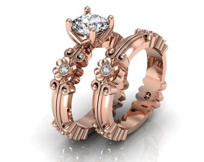 14k Rose Gold Wedding or Engagement Ring with Diamond and Moissanite Item # LAFW-000-X-350
