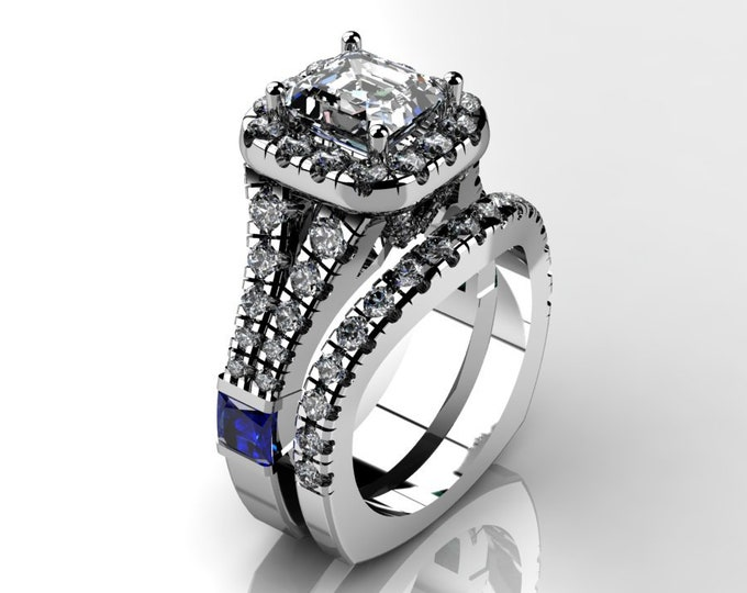 14k White Gold Wedding or Engagement Ring with Moissanite Blue Saphaire and Diamond Item # LAFW-000-X-314