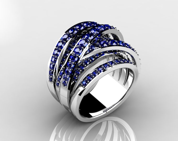 14k White Gold Classic Wedding or Engagement Ring with Blue Sapphire Item # LAFW-000-X-368