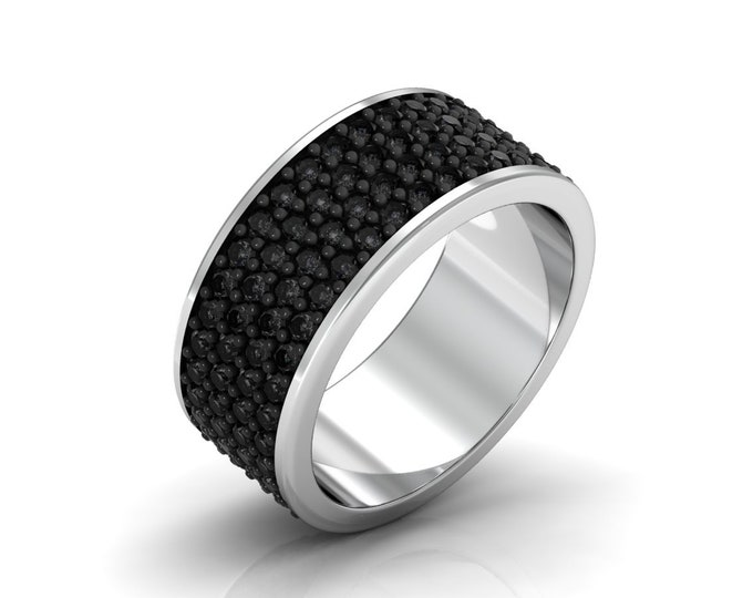 Black Caviar-14k White Gold Classic Engagement or Wedding Band with Black Diamond Item # LARFM000-X-248