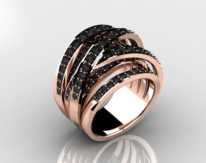 14k Rose Gold Classic Wedding or Engagement Ring with  Black Diamond Item # LAFW-000-X-367