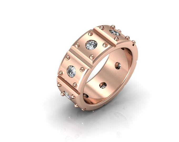 Heavy Duty - 14K Rose Gold Engagement or Wedding Band for Men w/ Diamond (Item#: RFM-0074)