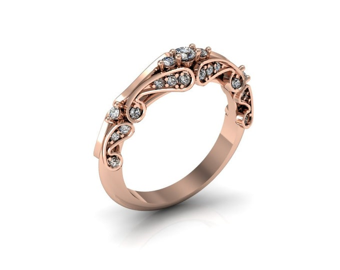 14k Rose Gold Engagement or Wedding Ring with Diamond Item # LAFW--X-131