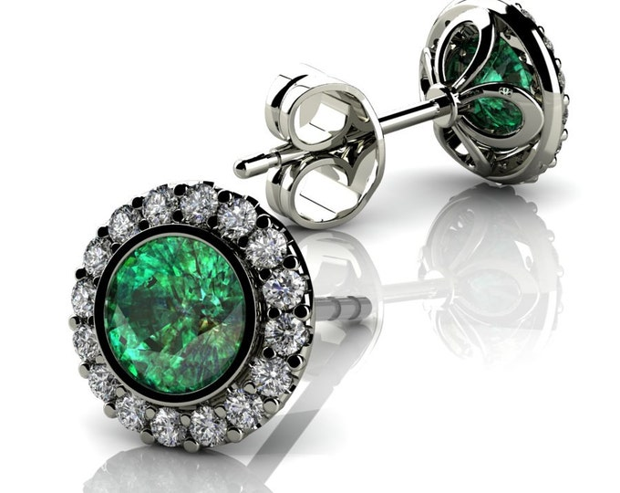 14k White Gold-Stud Earrings with Diamond and Emerald Item # LAEFW -00808
