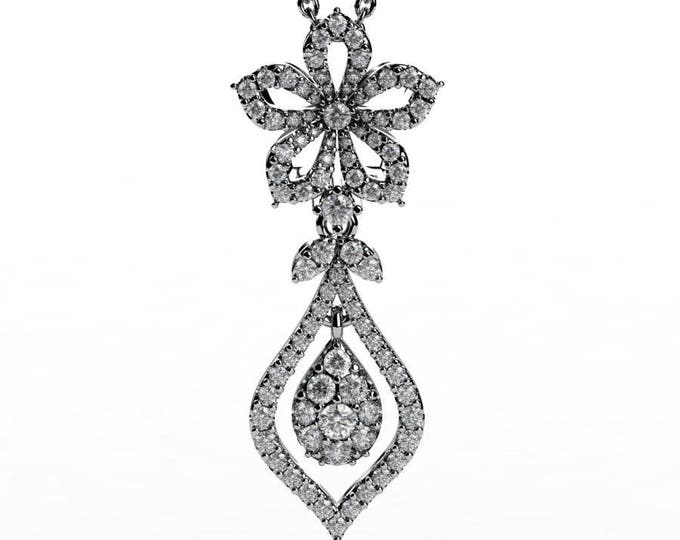 14k White Gold Pendants with 18 Inch Chain,and Diamond Item # PFW-000-X-56