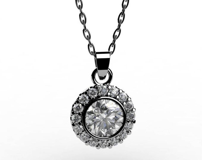 14k White Gold Pendants with 18Inch Chain, and Diamond Item # PFW-000-X-33