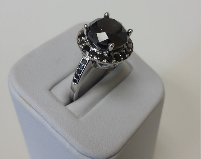 14k White Gold Classic Engagement or Wedding Ring with Black Diamond Item #LARFW -00678