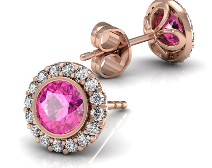 14k Rose Gold-Stud Earrings with Diamond and Pink Sapphire Item # LAEFW-805
