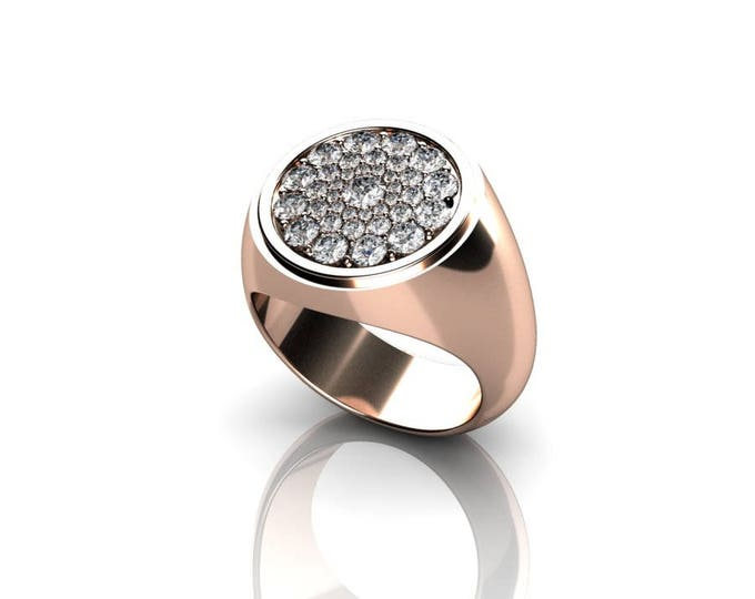 Honeycomb - 14k Rose Gold Classic Engagement or Wedding Ring with Diamonds (Item# RFW-000-X-23)