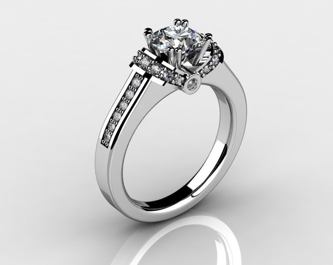 14k White Gold Wedding or Engagement Rind with Diamond and Moissanite Item # LAFW-000-X-196