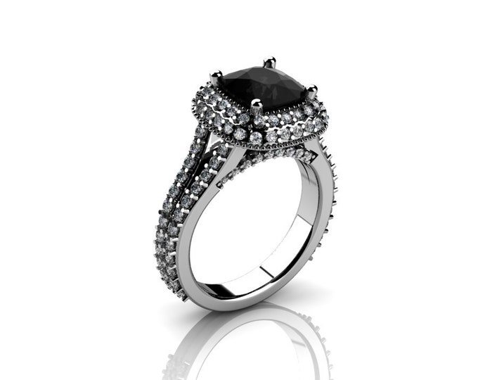 14k White Gold Wedding or Engagement Rind with Diamond and Black Diamond Item # LAFW-000-X-166