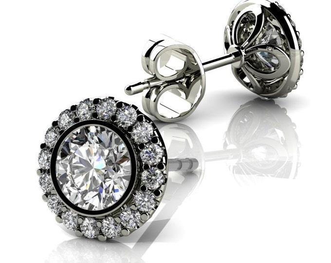14k White Gold-Stud Earrings with Diamond Item #LAEFW -00807
