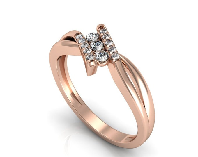 Big Promotion -14k Rose Gold Classic Engagement or Wedding Band with Diamond for Big sale Discount ,Item # LARFW-00811
