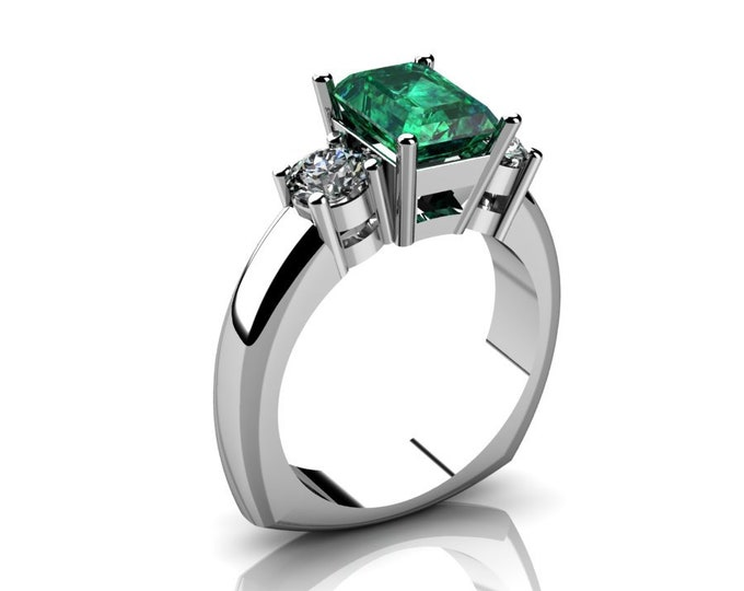 14k White Gold Wedding or Engagemnt Ring with Moissanite and Emerald Item # LAFW-000-X-213