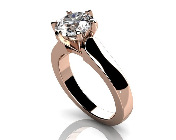 14k Rose Gold Classic Engagement or Wedding Ring with Moissanite Item # RFW000-X-275