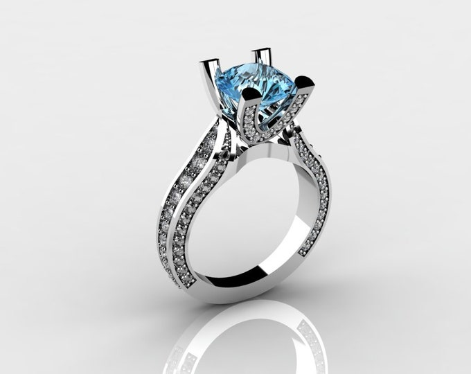 Sunshine-14k White Gold Classic Wedding and Engagement Ring with Diamond and Aquamarine Item # LAFW-000-X-183