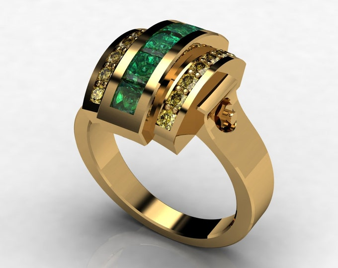 Trojan -18k Yellow Gold Classic Engagement or Wedding Ring with Emerald and Yellow Sapphire Item # LAWR -00580