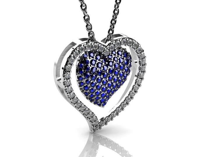 14k White Gold Heart Pendants with 18 In Chain,Diamond and Blue Sapphire Item # PFW-000-X-83