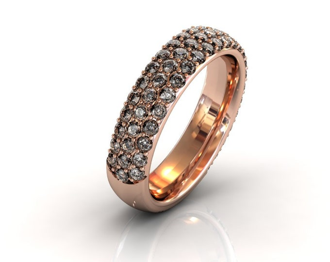 14k Rose Gold Wedding or Engagement Band with Champangne Diamond  Item # LAFW-000-X-226