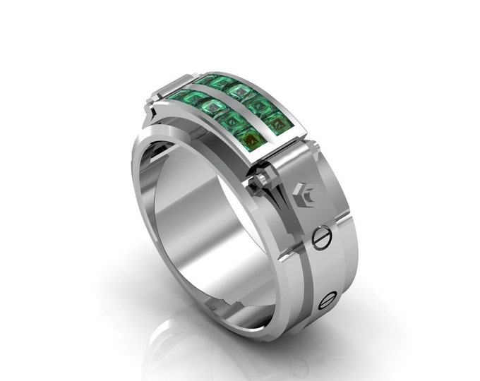 Al Capone - 18k White Gold Classic Engagement or Wedding Band with Emerald stones (Item#: LAMR-00591)