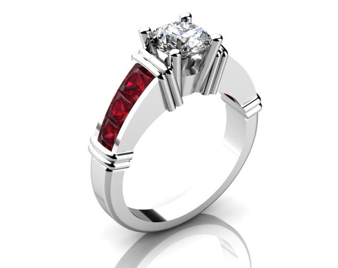 14k White Gold Classic Engagement or Wedding Ring with Moissanite,and Ruby Item # RFW000-X-273