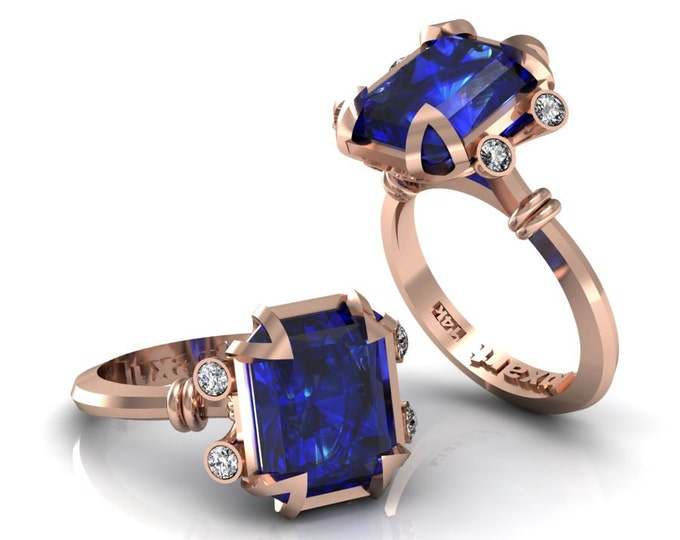 MIRAGE- 14K Rose Gold Classic Engagement or Wedding Ring with Diamond and London Blue Topaz Item: RFW -00275
