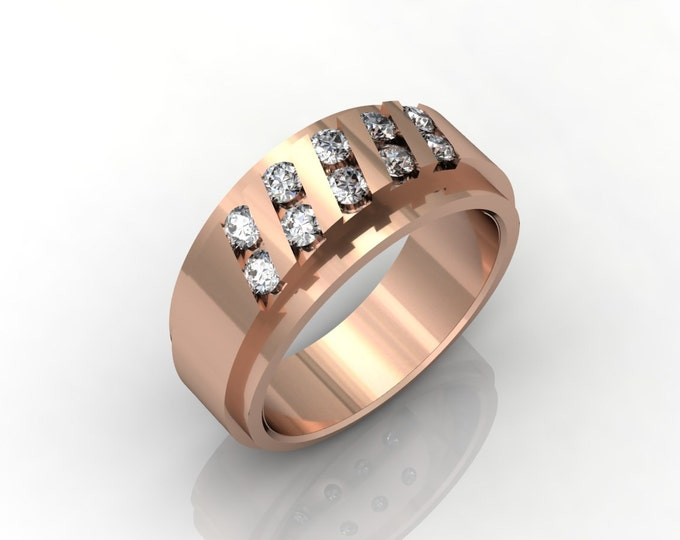 14k Rose  Gold Classic Engagement or Wedding Band with Diamond Item # LARFM 00744