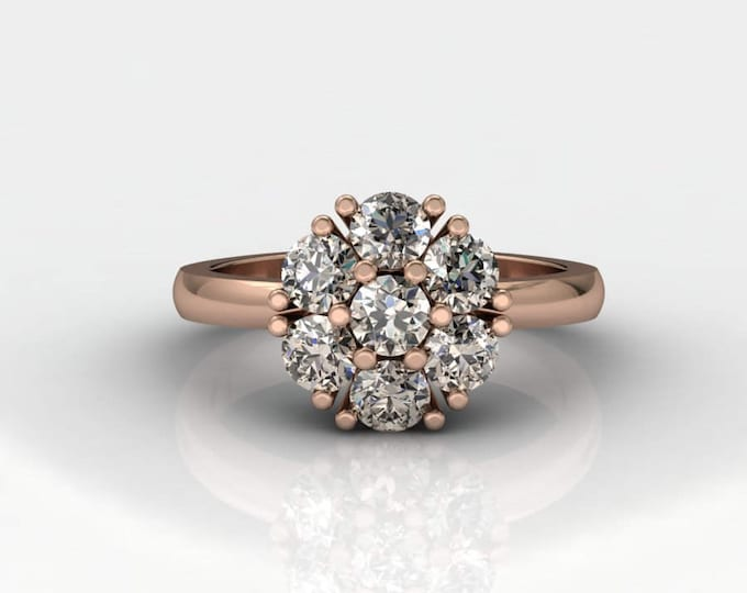 14k Rose Gold Classic Engagement Ring with Champagne- Diamond Item # RFW 000X-3