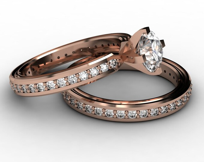 CHEMISTRY -14K Rose Gold Classic Engagement or Wedding Band with  Diamond and Moissanite  Item #; RFW -00493